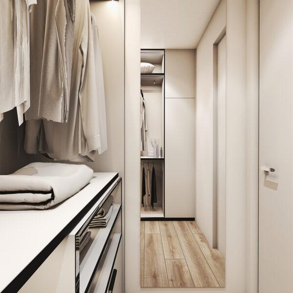 Дизайн интерьера квартиры ЖК «Птичка», гардероб вид на зеркало