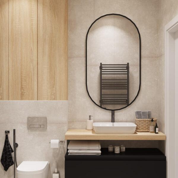 Дизайн інтер'єру квартири ЖК «Інфініті», санвузол для гостей вид на дзеркало