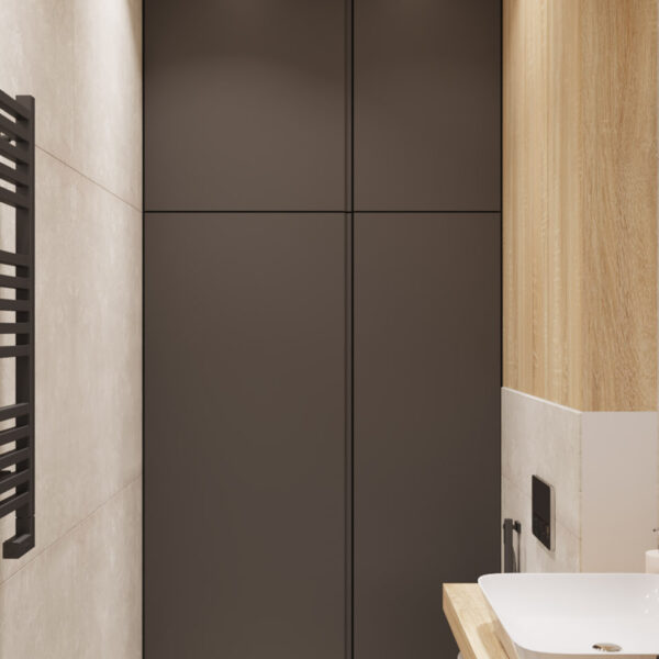 Дизайн интерьера квартиры ЖК «Инфинити», гостевой санузел вид на шкаф
