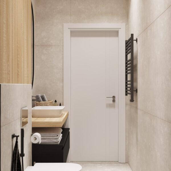 Дизайн интерьера квартиры ЖК «Инфинити», гостевой санузел вид на вход в санузел