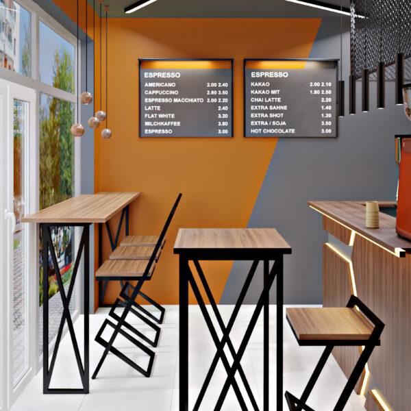 Дизайн-проект фастфуда, торговый зад вид на места для отдыха