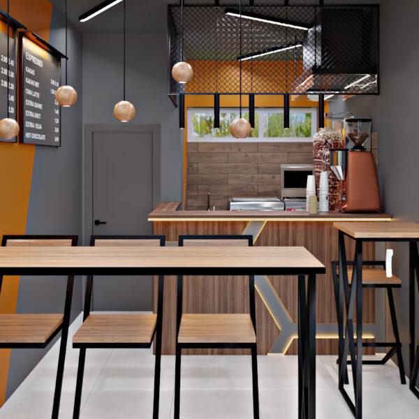 Дизайн-проект фастфуду, торгівельна зала вид на зону відпочинку і кухню