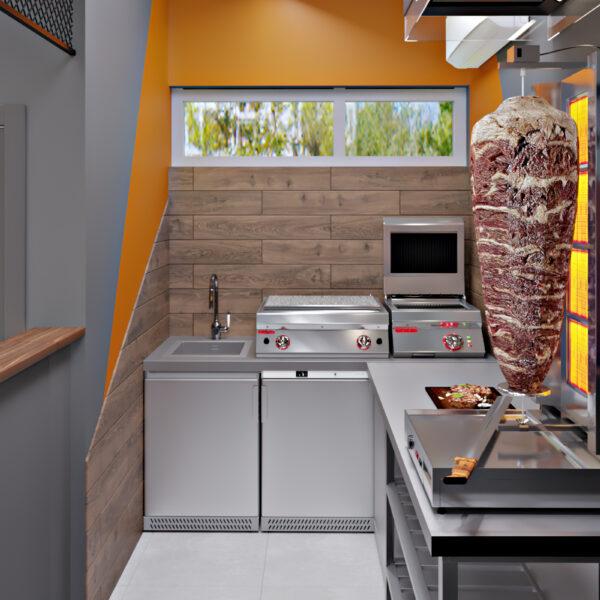 Дизайн-проект фастфуда, кухня вид на оборудование