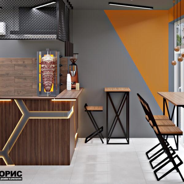 Дизайн-проект фастфуда, торговый зал вид на кафе в целом