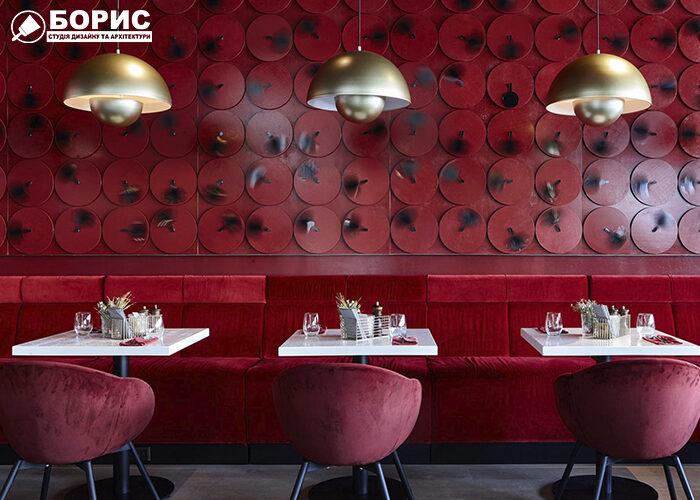 Дизайн кафе, з червоними стінами