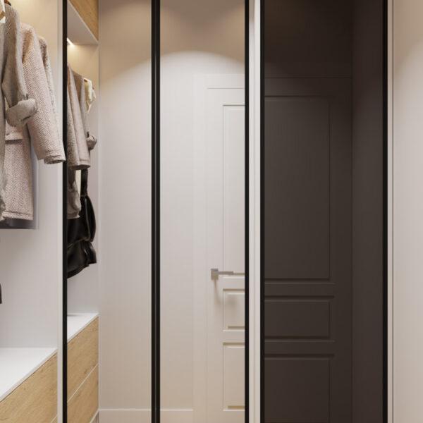 Дизайн интерьера квартиры ЖК «Инфинити», кладовая вид на закрытые двери шкафа