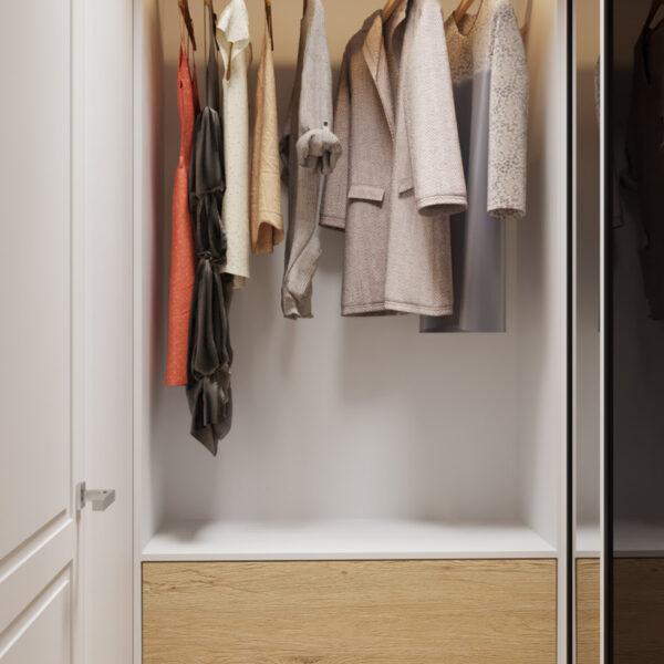 Дизайн интерьера квартиры ЖК «Инфинити», кладовая вид на открытую дверь шкафа