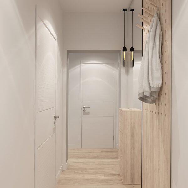 Дизайн-проект інтер'єра квартири у ЖК «Металіст», коридор з видом на вхід