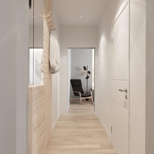 Дизайн-проект інтер'єра квартири у ЖК «Металіст», коридор