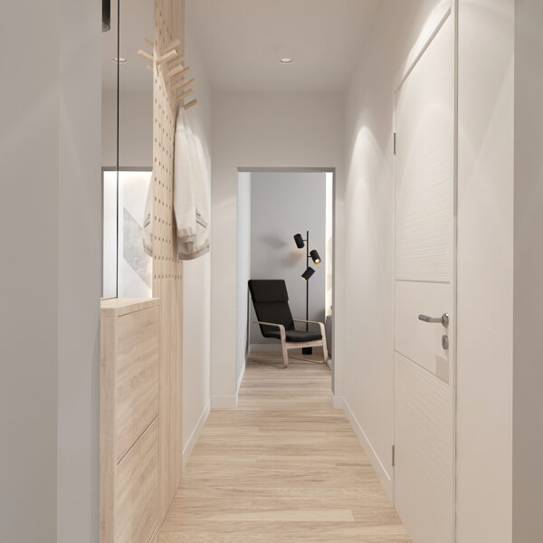 Дизайн интерьера квартиры ЖК «Металлист», коридор фото на правую сторону