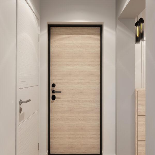 Дизайн интерьера квартиры ЖК «Металлист» ,коридор вид на входную дверь