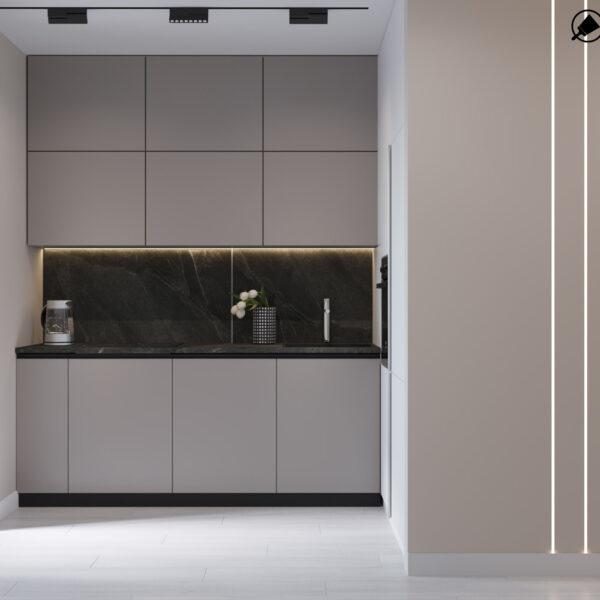 Дизайн интерьера квартиры ЖК «Гидропарк», кухня вид на рабочую зону