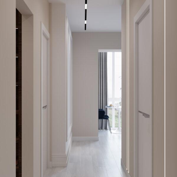 Дизайн интерьера квартиры ЖК «Гидропарк», прихожая вид на коридор