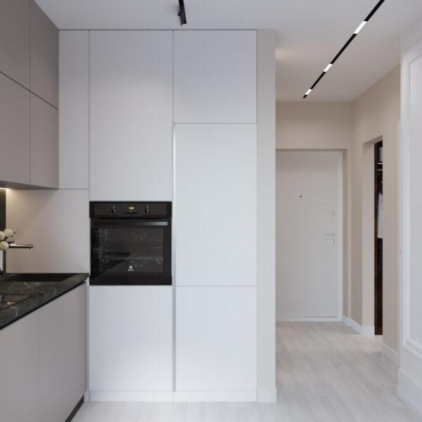 Дизайн интерьера квартиры ЖК «Гидропарк», кухня вид на коридор
