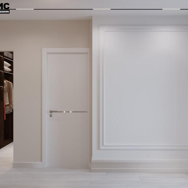 Дизайн интерьера квартиры ЖК «Гидропарк», прихожая с видом п о центру