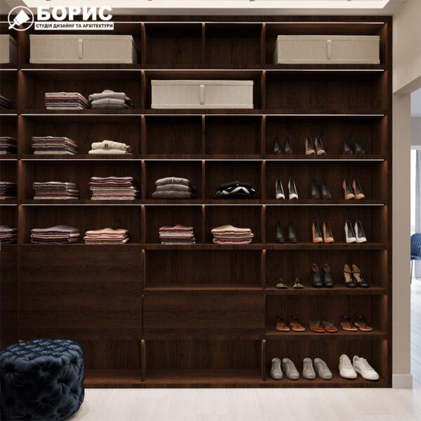 Дизайн интерьера квартиры ЖК «Гидропарк», гардероб левая сторона
