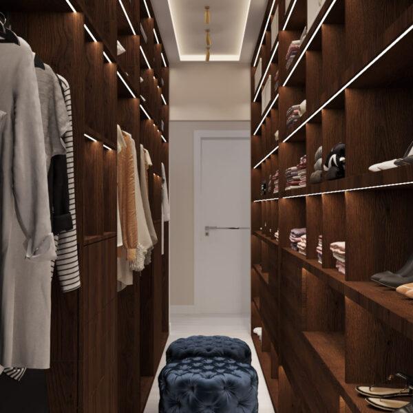Дизайн интерьера квартиры ЖК «Гидропарк», гардероб вид по центру
