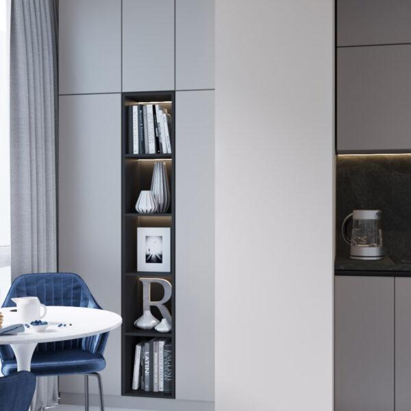 Дизайн интерьера квартиры ЖК «Гидропарк», лоджия вид на правую сторону