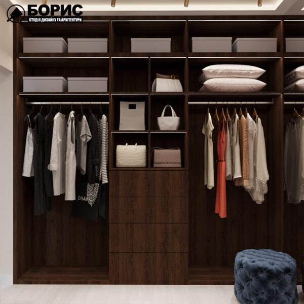 Дизайн интерьера квартиры ЖК «Гидропарк» ,гардероб вид на правую сторону