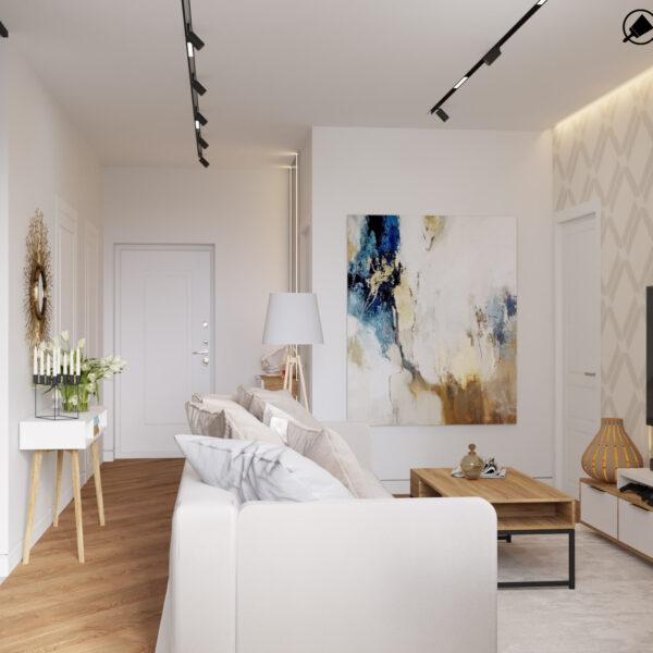 Дизайн інтер'єру квартири ЖК «Інфініті», коридор-вітальні вид на кімнату в цілому