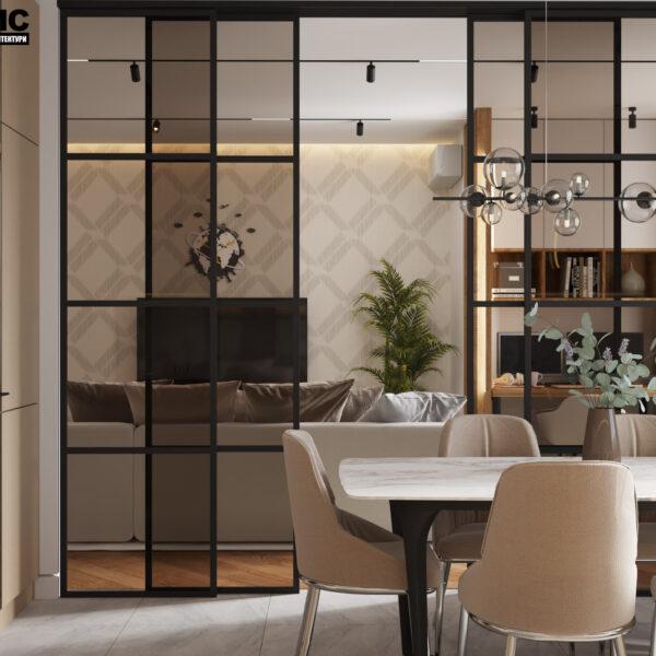 Дизайн интерьера квартиры ЖК «Инфинити», кухня вид на стол и перегородку