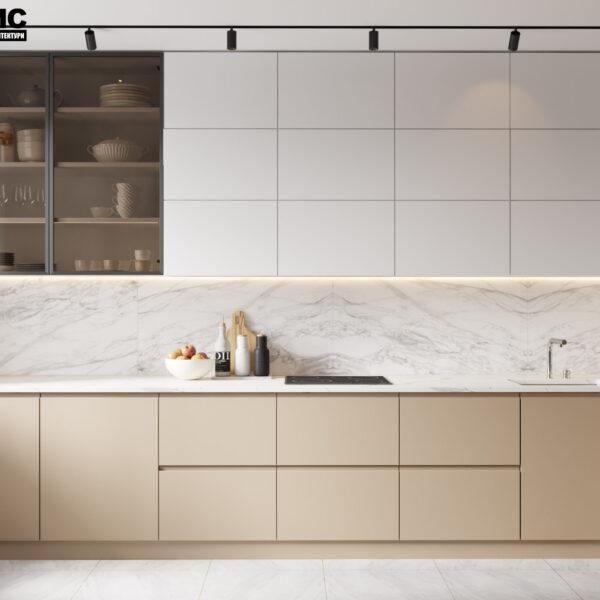 Дизайн интерьера квартиры ЖК «Инфинити», кухня вид по центру