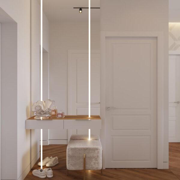 Дизайн интерьера квартиры ЖК «Инфинити», прихожая-коридор с видом на зеркало у входа