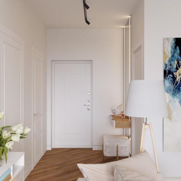 Дизайн інтер'єру квартири ЖК «Інфініті», коридор-вітальні вид н вхідні двері
