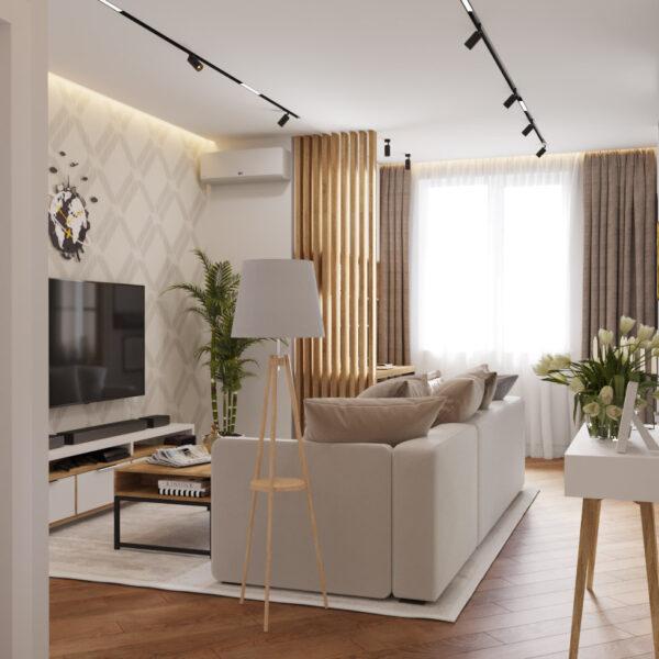 Дизайн інтер'єру квартири ЖК «Інфініті», коридор-віталььні вид на зону відпочинку під кутом