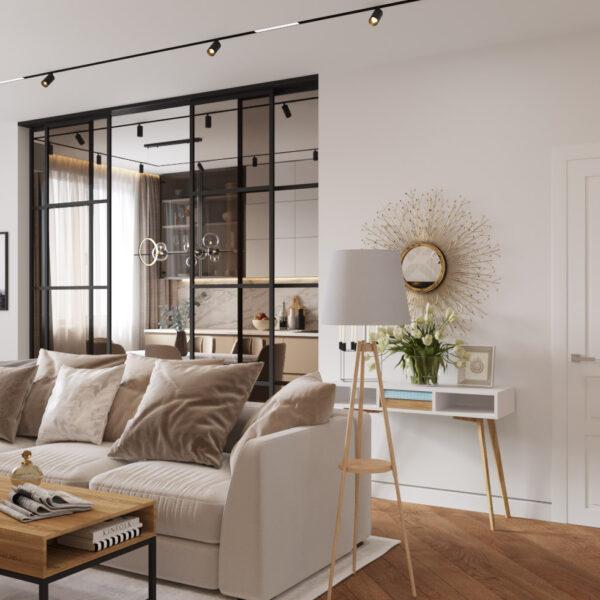 Дизайн интерьера квартиры ЖК «Инфинити», прихожая-коридор вид на зону отдыха под углом