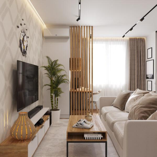 Дизайн интерьера квартиры ЖК «Инфинити», прихожая-коридор вид на диван и телевизор