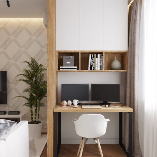 Дизайн інтер'єру квартири ЖК «Інфініті», коридор-вітальні вид на робочу зону
