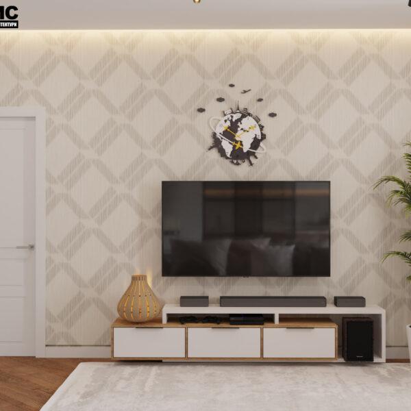 Дизайн интерьера квартиры ЖК «Инфинити», прихожая-коридор с видом на тумбу под TV
