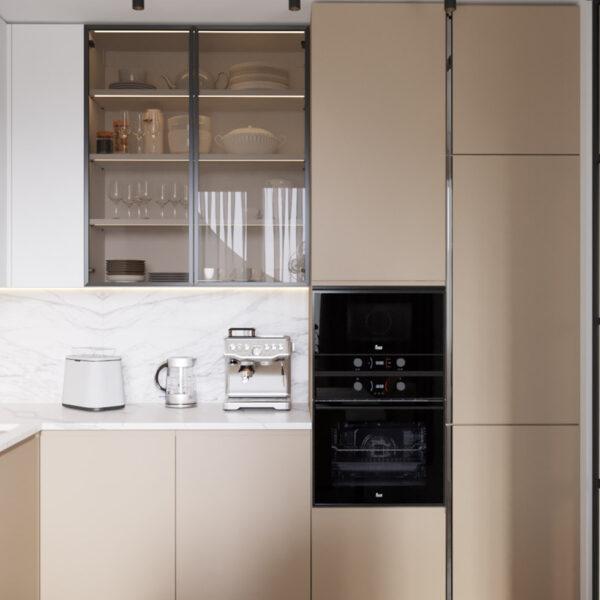 Дизайн интерьера квартиры ЖК «Инфинити», кухня вид с правой стороны