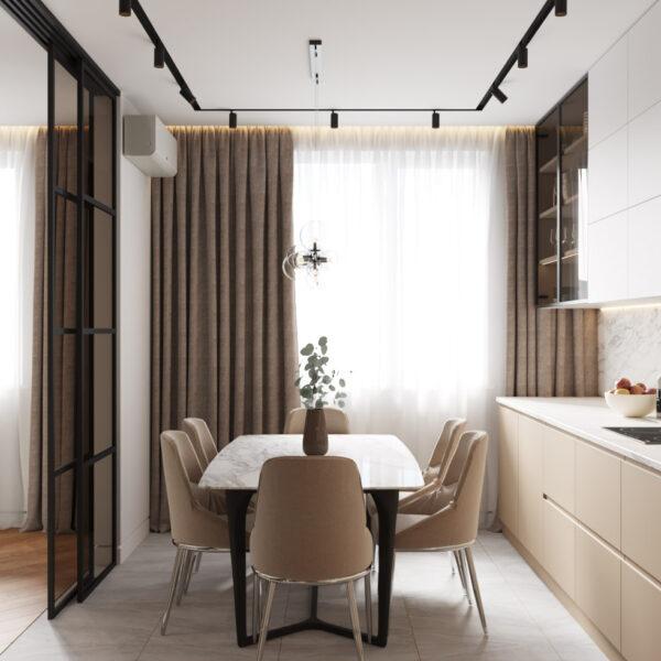 Дизайн интерьера квартиры ЖК «Инфинити, кухня с видом на стол и стулья