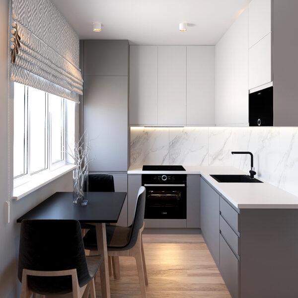 Дизайн интерьера квартиры ЖК «Металлист» ,кухня вид на комнату в целом