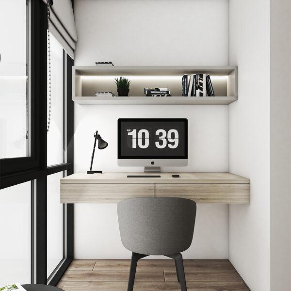 Дизайн интерьера квартиры ЖК «Птичка», лоджия вид на рабочую зону