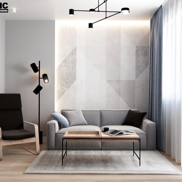 Дизайн-проект інтер'єра квартири у ЖК «Металіст», вітальня вид на зону відпочинку