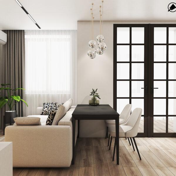Дизайн интерьера квартиры ЖК «Птичка», кухня-гостиная вид на вход на лоджию
