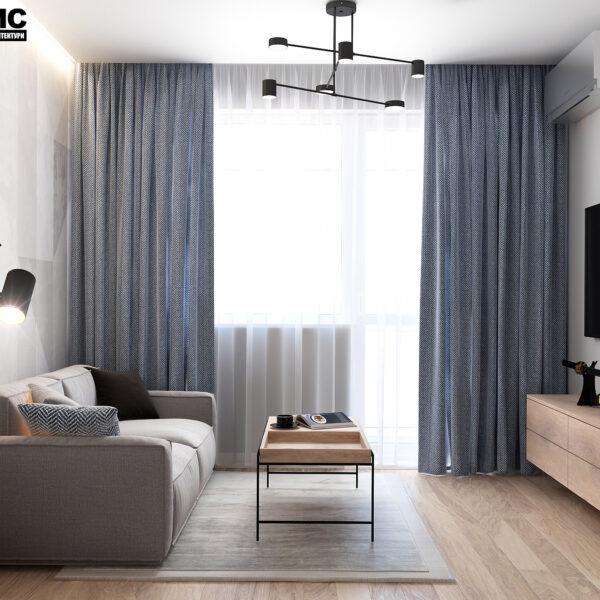 Дизайн интерьера квартиры ЖК «Металлист», гостиная вид на окно