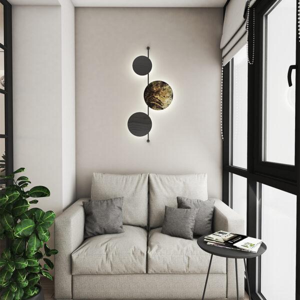 Дизайн интерьера квартиры ЖК «Птичка», лоджия вид на диванчик