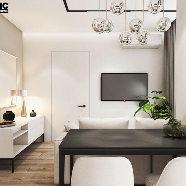 Дизайн інтер'єру квартири ЖК «Пташка», кухня-вітальня вид на зону відпочинку