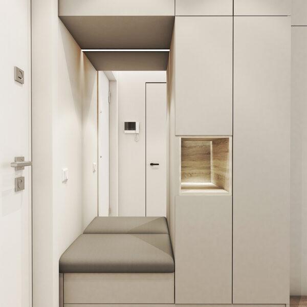 Дизайн интерьера квартиры ЖК «Птичка» , прихожая вид на шкаф