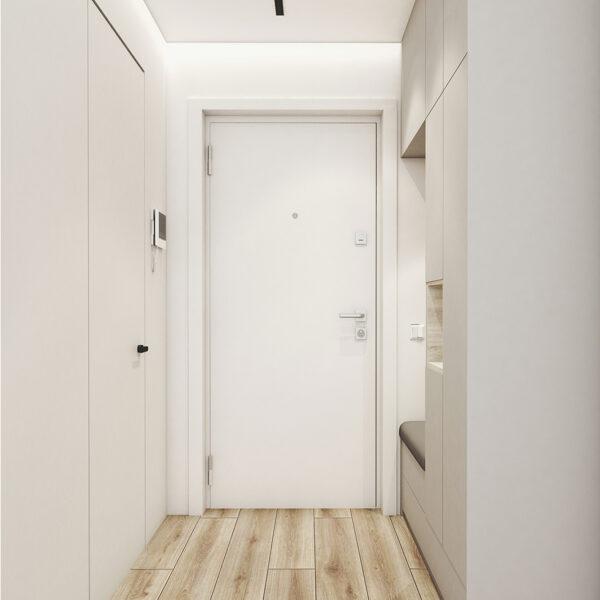Дизайн интерьера квартиры ЖК «Птичка», прихожая вид на входную дверь