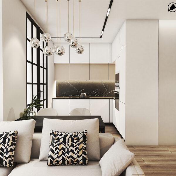 Дизайн интерьера квартиры ЖК «Птичка», кухня-гостиная вид по центру