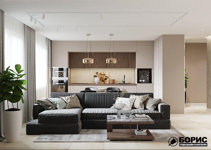 Квартира с современным дизайном и элитным ремонтом.