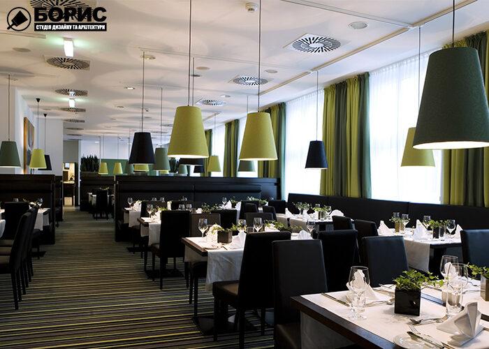 Дизайн кафе с видом на большой зал