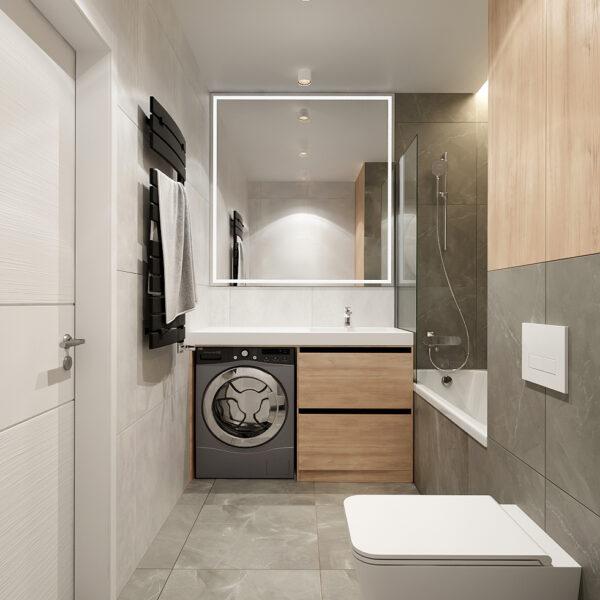 Дизайн интерьера квартиры ЖК «Металлист», санузел вид на комнату в целом