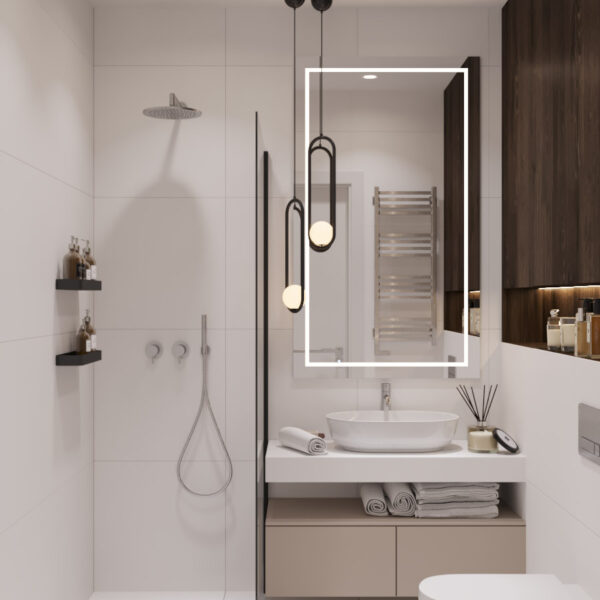 Дизайн интерьера квартиры ЖК «Гидропарк», санузел вид на зеркало