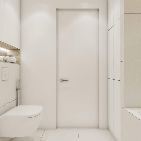 Дизайн интерьера квартиры ЖК «Птичка», санузел вид на вход в санузел